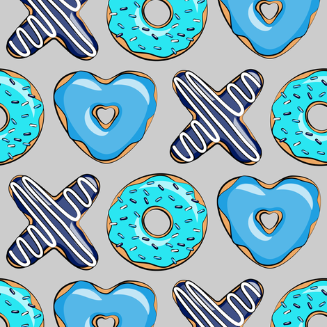blue X O  heart shaped donuts - xo heart donuts on grey  fabric by littlearrowdesign on Spoonflower - custom fabric