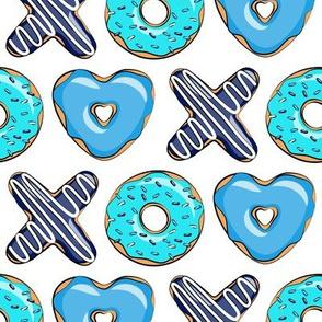 blue X O  heart shaped donuts - xo heart donuts