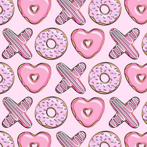 (small scale) X O  heart shaped donuts -  pink