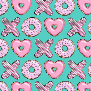 (small scale) X O  heart shaped donuts - xo heart donuts on dark teal