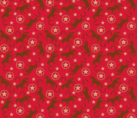 Horse Western Red Small fabric by phyllisdobbs on Spoonflower - custom fabric