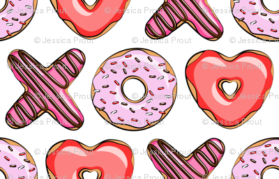 XO heart shaped donuts - valentines red and pink