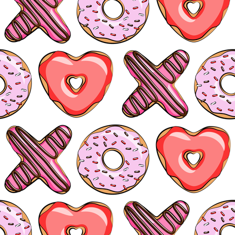 XO heart shaped donuts - valentines red and pink fabric by littlearrowdesign on Spoonflower - custom fabric