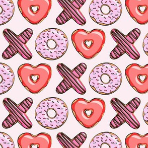 (small scale) XO heart shaped donuts - valentines red and pink on pink
