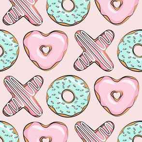 XO heart shaped donuts - valentines pink & mint on pink - valentines day