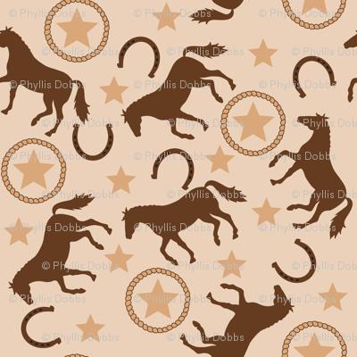 Horse Westrn Beige Small