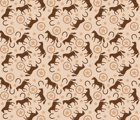 Horse Westrn Beige Small fabric by phyllisdobbs on Spoonflower - custom fabric