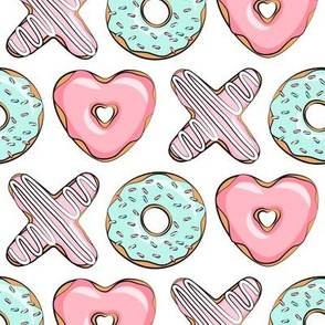 XO heart shaped donuts - valentines pink & mint  - valentines day