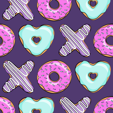 xo shaped donuts multi on purple fabric. Black Bedroom Furniture Sets. Home Design Ideas