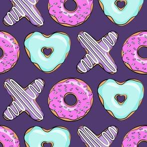 xo shaped donuts - multi on purple