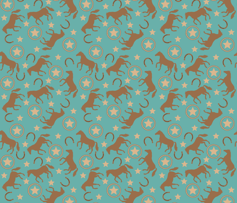 Horse Western Teal Small fabric by phyllisdobbs on Spoonflower - custom fabric