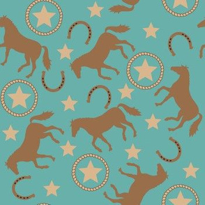 Horse Western Teal Small