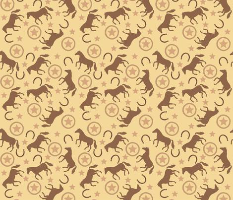 Horse Western Yellow Small fabric by phyllisdobbs on Spoonflower - custom fabric