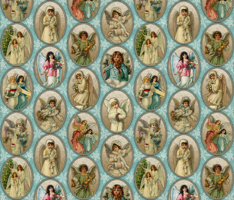 Vintage Angels fabric by malibu_creative on Spoonflower - custom fabric