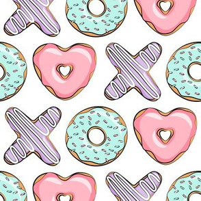 xo heart donuts - pink, mint, purple