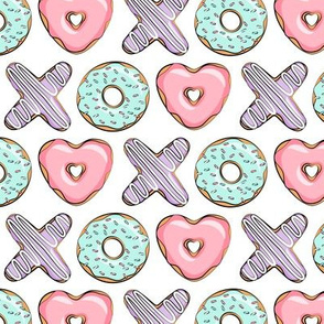 (small scale) xo heart donuts - pink, mint, purple