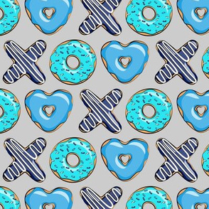 (small scale) blue X O  heart shaped donuts - xo heart donuts on grey