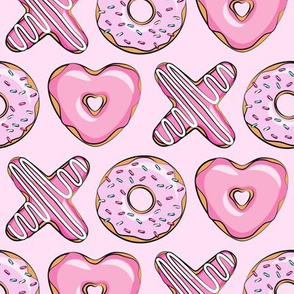 X O  heart shaped donuts -  pink  on pink