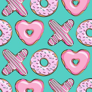 X O  heart shaped donuts - xo heart donuts on dark teal