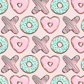(small scale) XO heart shaped donuts - valentines pink & mint on pink - valentines day