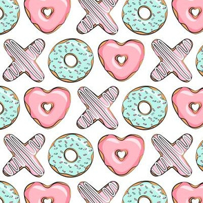 (small scale) XO heart shaped donuts - valentines pink & mint  - valentines day