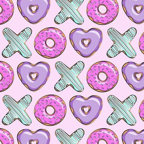(small scale) xo shaped donuts - multi on light purple
