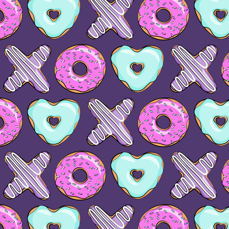 (small scale) xo shaped donuts - multi on purple fabric by littlearrowdesign on Spoonflower - custom fabric