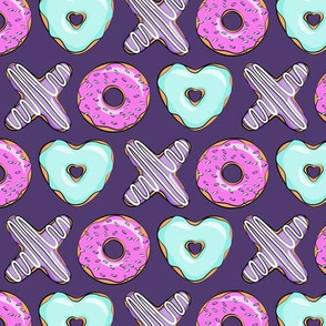 (small scale) xo shaped donuts - multi on purple