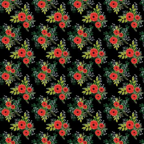 "2"" WINTER BLOOMS BLACK fabric by shopcabin on Spoonflower - custom fabric"