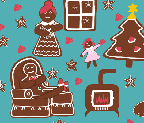 Gingerbread Family fabric by kathleenbruceillustration on Spoonflower - custom fabric