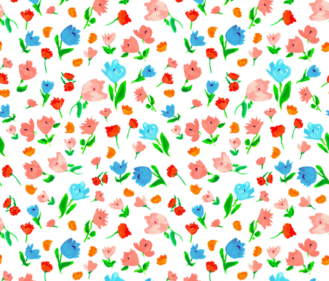 pastel flowers fabric by t_textile_design on Spoonflower - custom fabric