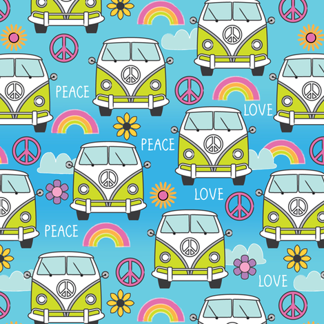 peace and love camper vans fabric by lilcubby on Spoonflower - custom fabric