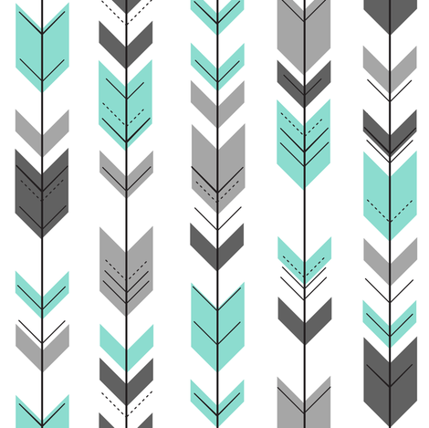 (small scale) fletching arrows - light teal little man quit top coordinate fabric by littlearrowdesign on Spoonflower - custom fabric
