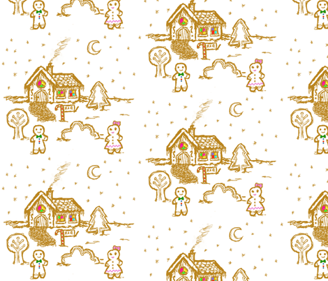 Gingerbread house fabric by darkandbright on Spoonflower - custom fabric