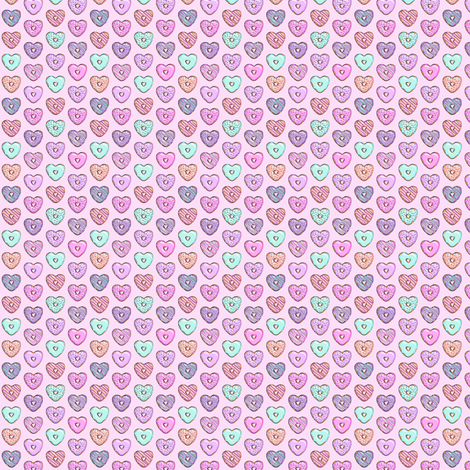 (micro scale) heart shaped donuts - valentines multi fabric by littlearrowdesign on Spoonflower - custom fabric