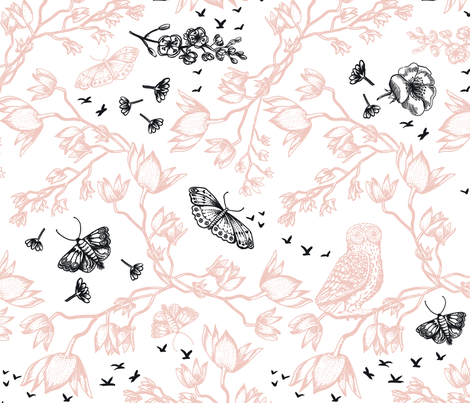 ORCHID OWL TWO-TONE - ROSE fabric by kimberleyrenwick on Spoonflower - custom fabric