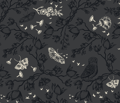 ORCHID OWL TWO-TONE - CHARCOAL fabric by kimberleyrenwick on Spoonflower - custom fabric
