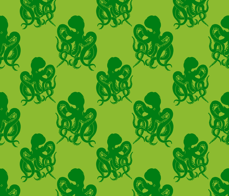 octopus green on green  fabric by heretherebemonsters on Spoonflower - custom fabric