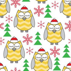 gold owls-with-santa-hats