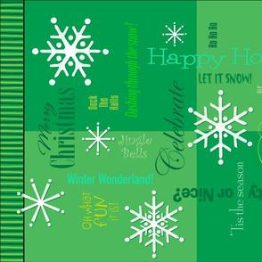 Christmas Words Collage Green Tea Towel