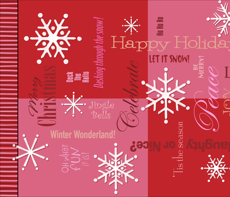 christmas words collage red tea towel fabric by debgallagherdesign on spoonflower custom fabric