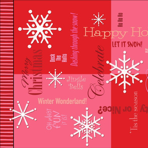 Christmas Words Collage Red Tea Towel