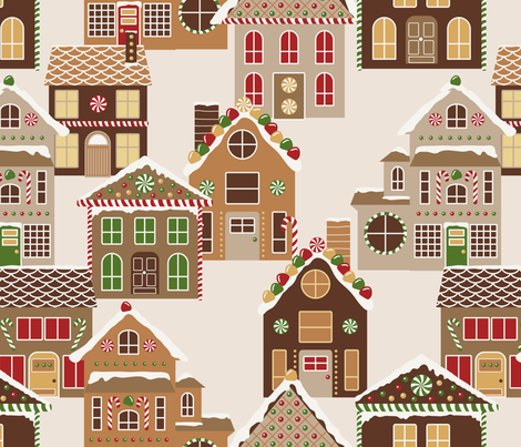 Gingerbread Village fabric by diseminger on Spoonflower - custom fabric
