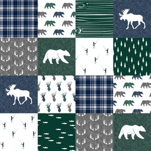 woodland patchwork fishing quilt - green navy grey