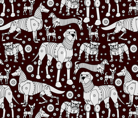 robot dogs on red fabric by pamelachi on Spoonflower - custom fabric