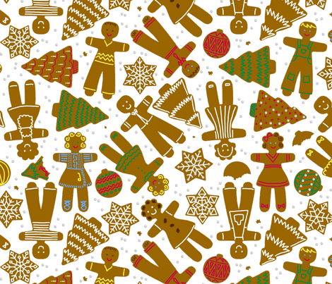 gingerbread cookie decorating party fabric by victorialasher on Spoonflower - custom fabric