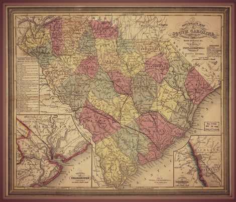 South Carolina map, large fabric by svester on Spoonflower - custom fabric