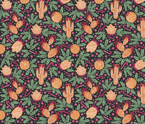 Holiday Cacti Gingerbread cookies (charcoal) fabric by helenpdesigns on Spoonflower - custom fabric