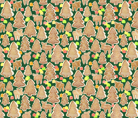Gingerbread Trees Moose and Gumdrops fabric by sarah_be on Spoonflower - custom fabric