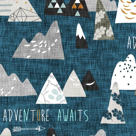 Adventure Awaits (midnightl) REGULAR  fabric by nouveau_bohemian on Spoonflower - custom fabric
